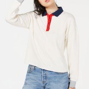White Hippie Rose Juniors Polo Sweatshirt